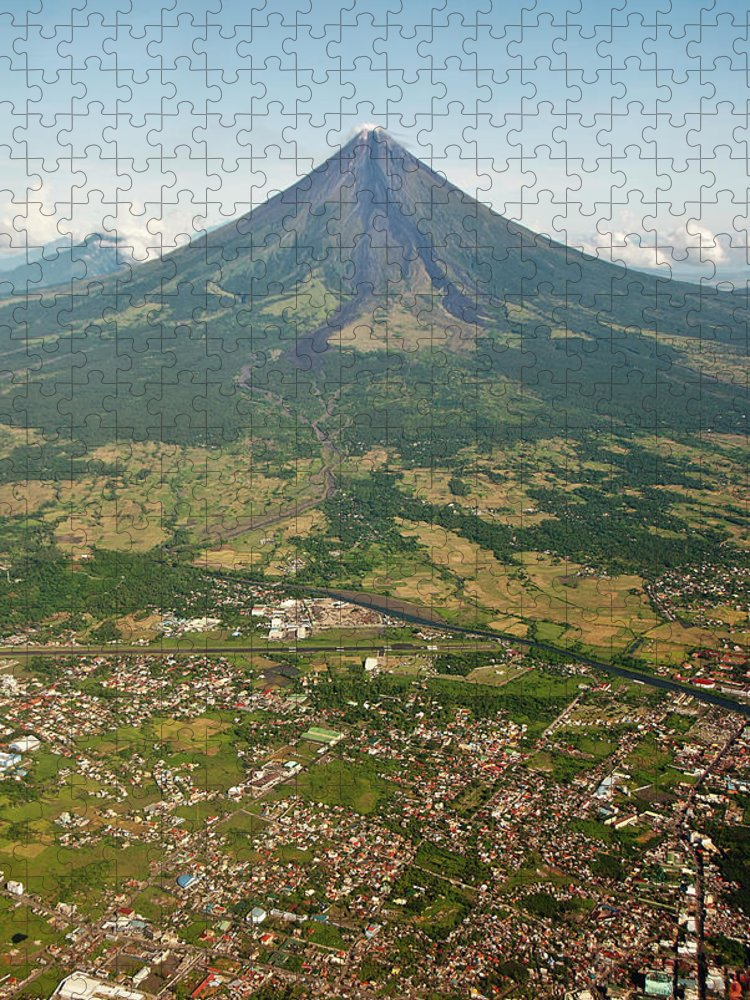 Dawn Puzzle featuring the photograph Mayon Volcano And Legazpi City by Kay Dulay