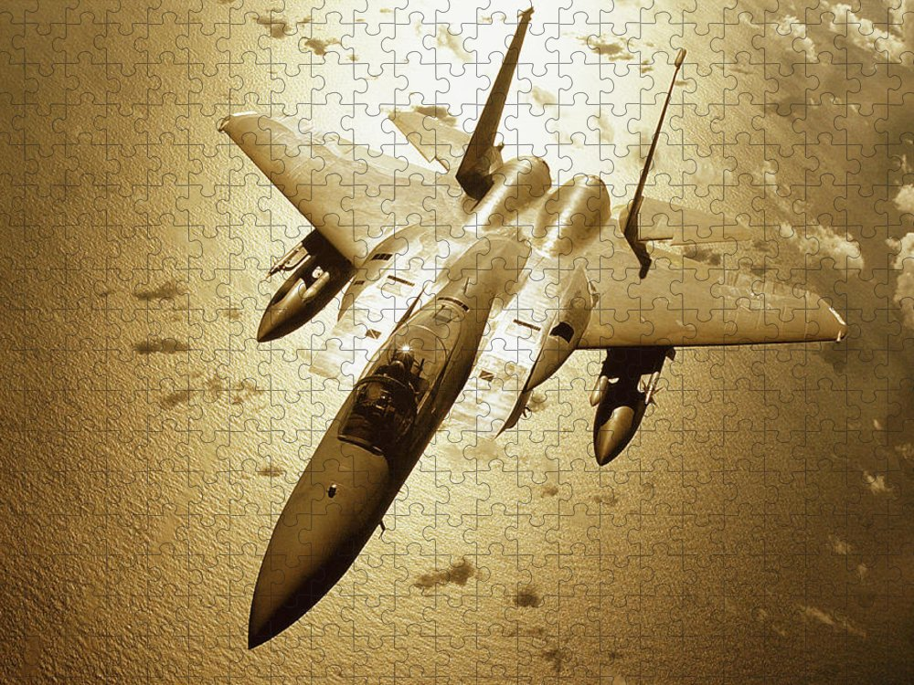 F-15 Eagle Puzzle featuring the photograph Mcdonnell Douglas F-15 Eagle In Flight by Stocktrek