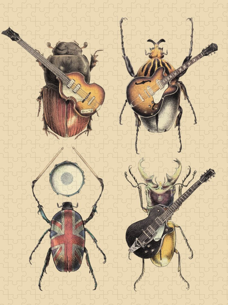 Beatles Puzzle featuring the digital art Meet the Beetles by Eric Fan