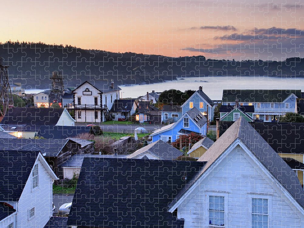 Water's Edge Puzzle featuring the photograph Mendocino At Dawn by S. Greg Panosian