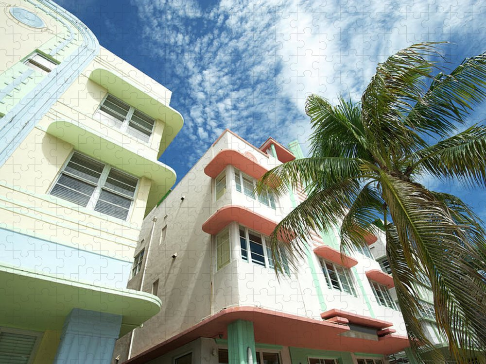 Architectural Feature Puzzle featuring the photograph Miami Art Deco Drive Architecture Blue by Peskymonkey