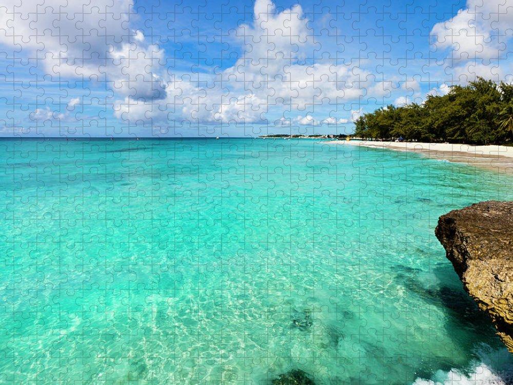 Water's Edge Puzzle featuring the photograph Miami Beach, Barbados by Flavio Vallenari