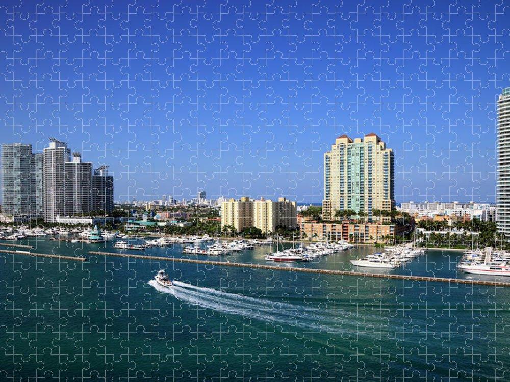 Built Structure Puzzle featuring the photograph Miami Beach Marina by Jorgegonzalez
