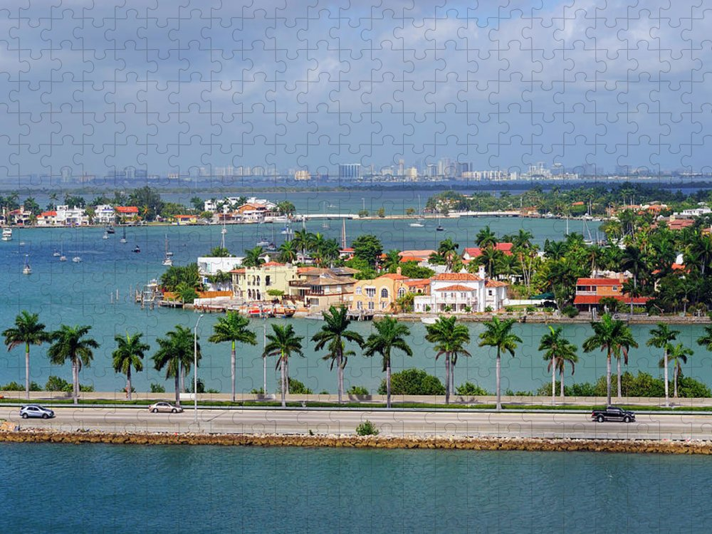 Trading Puzzle featuring the photograph Miami Mac Arthur Causeway En Route To by Jfmdesign