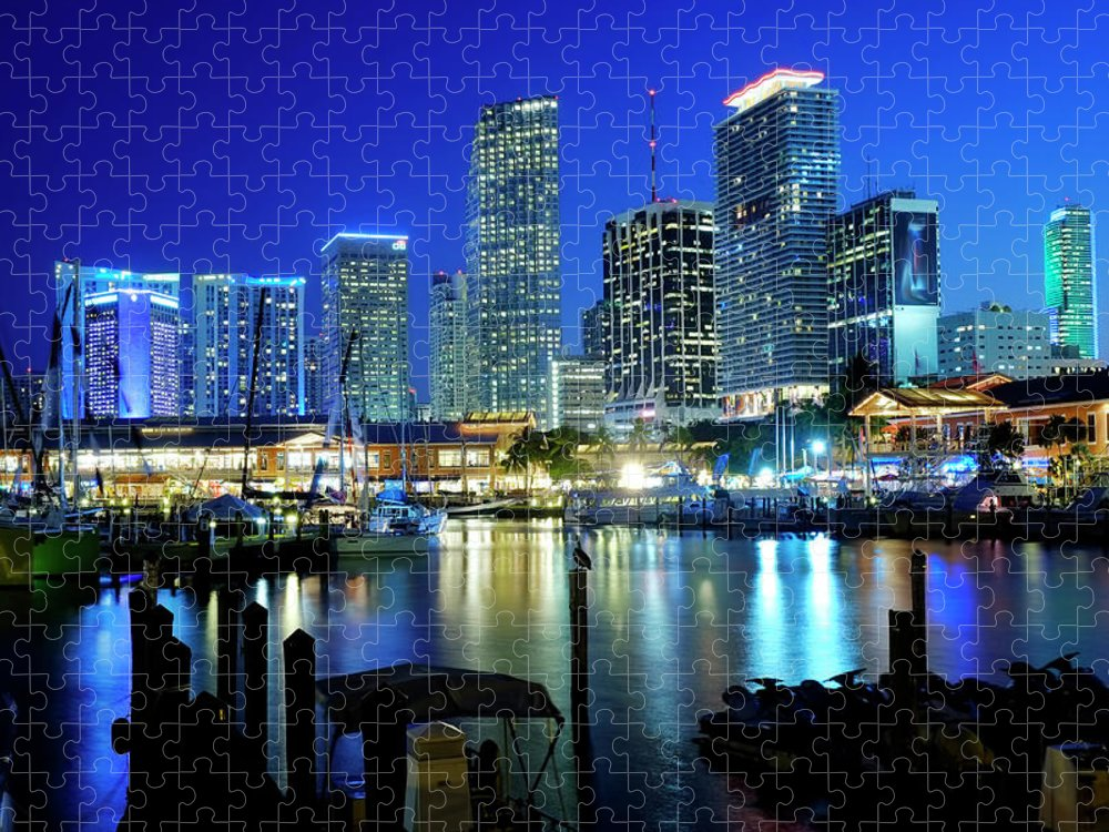 Corporate Business Puzzle featuring the photograph Miami Skyline, Florida, Usa by Travelpix Ltd