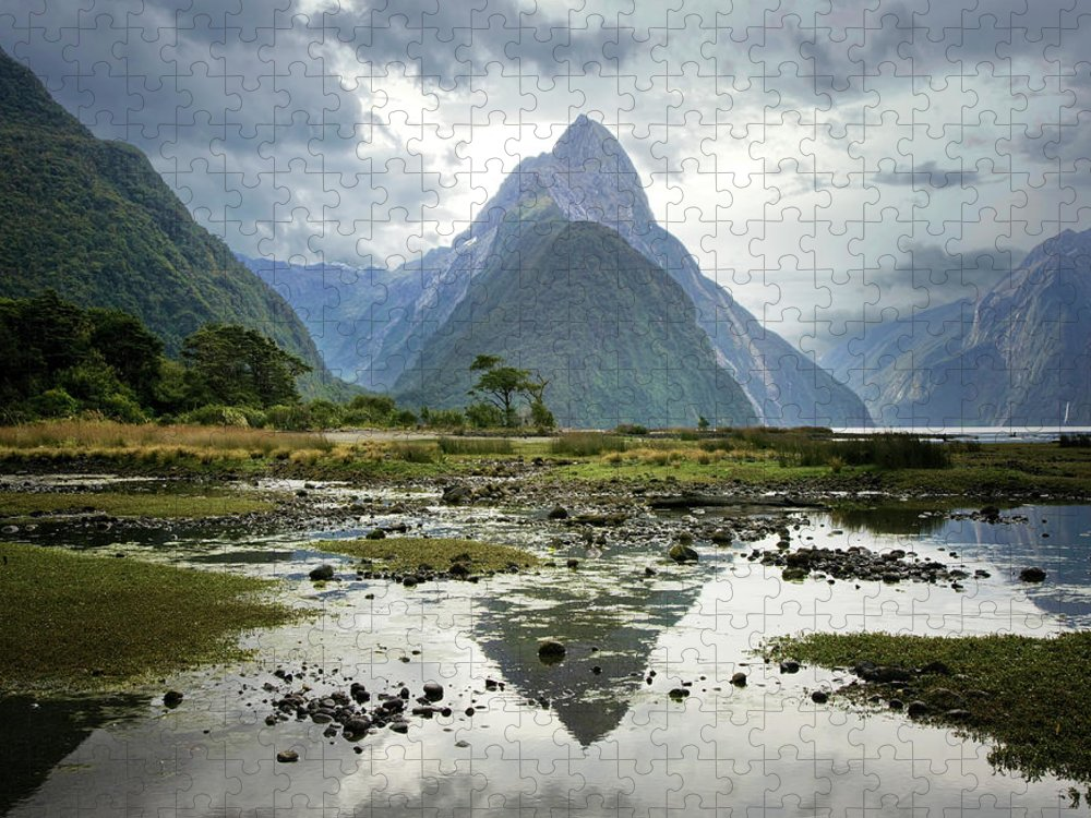 Tranquil Scene Puzzle featuring the photograph Milford Sound, South Island, New Zealand by Ed Freeman