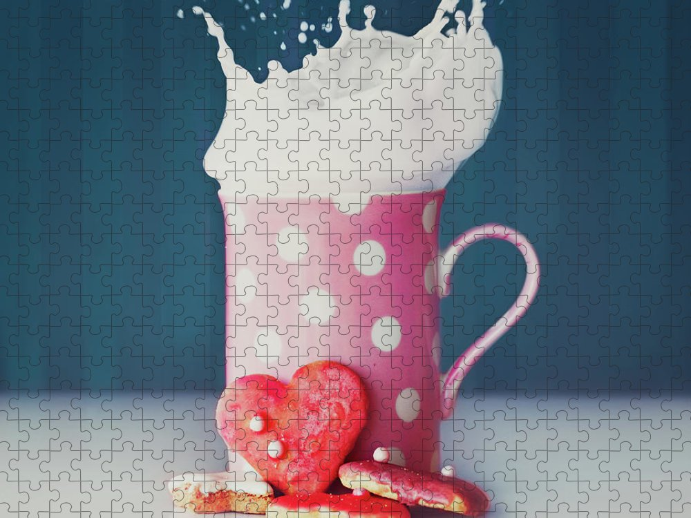 Milk Puzzle featuring the photograph Milk And Heart Shape Cookies by Julia Davila-lampe