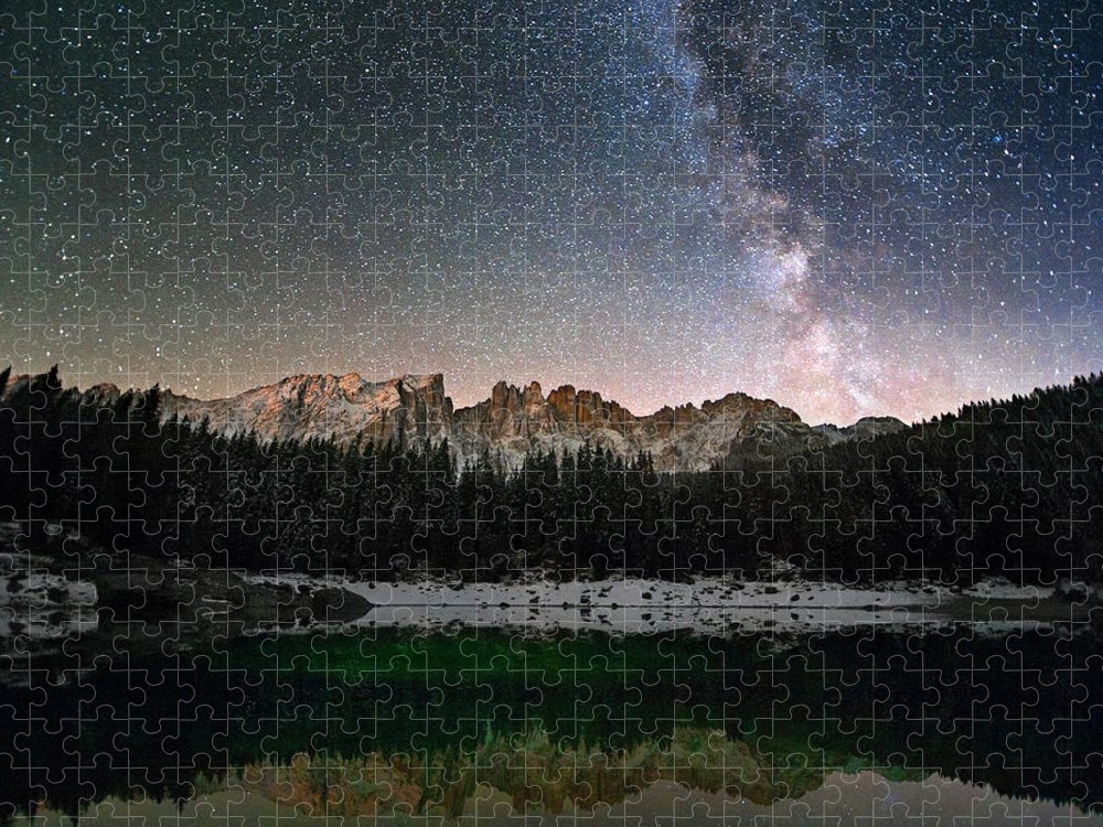 Scenics Puzzle featuring the photograph Milky Way In The Alps by Scacciamosche
