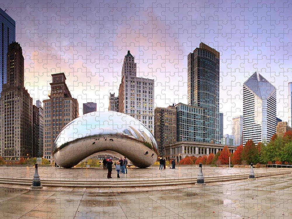 Dawn Puzzle featuring the photograph Millennium Park, Chicago, Illinois,usa by Travelpix Ltd