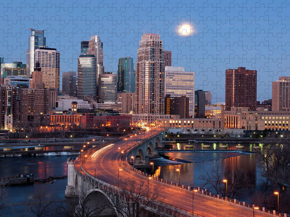 Downtown District Puzzle featuring the photograph Minneapolis, Minnesota Skyline by Jenniferphotographyimaging