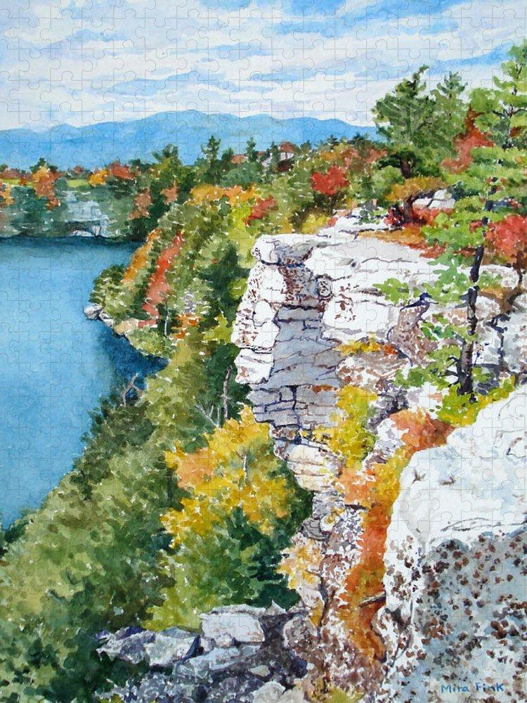 Minnewaska Puzzle featuring the painting Minnewaska Fall Cliff by Mira Fink