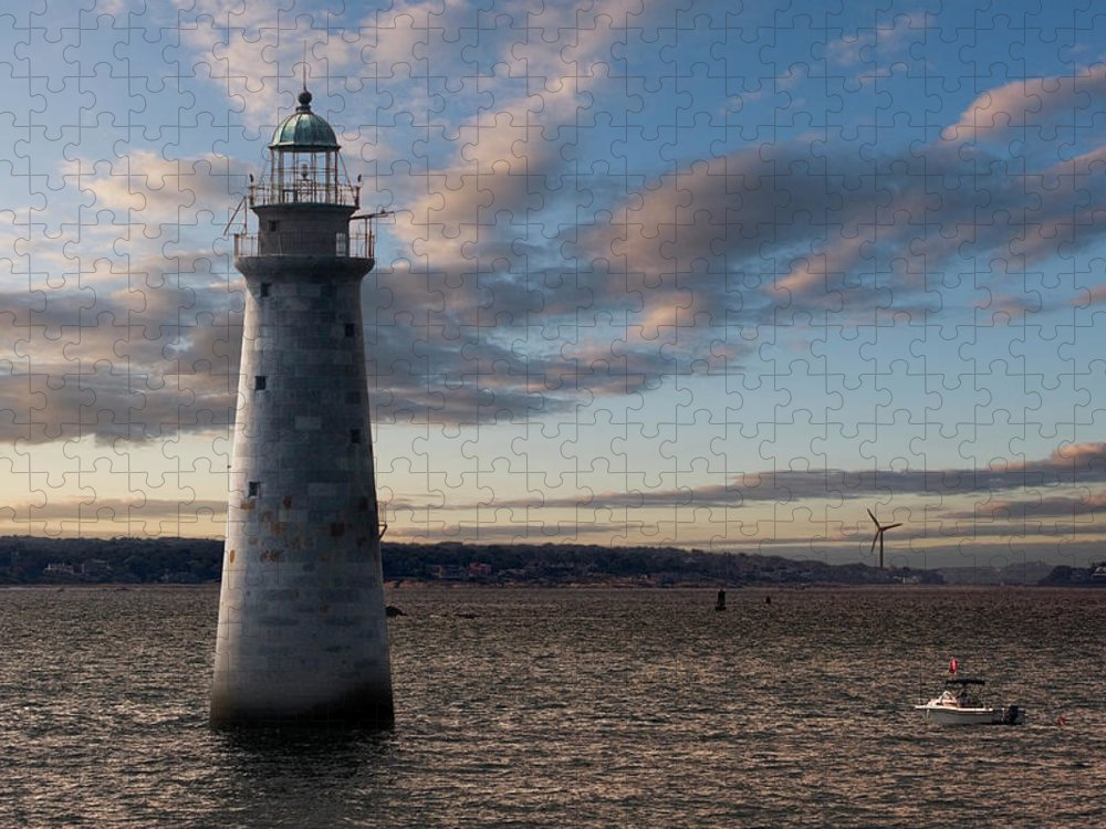 Scenics Puzzle featuring the photograph Minots Ledge Light, Boston Harbor by Kickstand