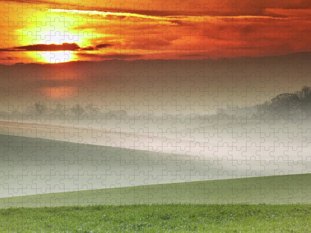 Tranquility Puzzle featuring the photograph Mist Over Landscape Of Rolling Hills by Andy Freer