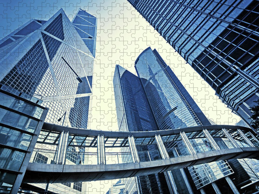 Corporate Business Puzzle featuring the photograph Modern Office Buildings by Nikada