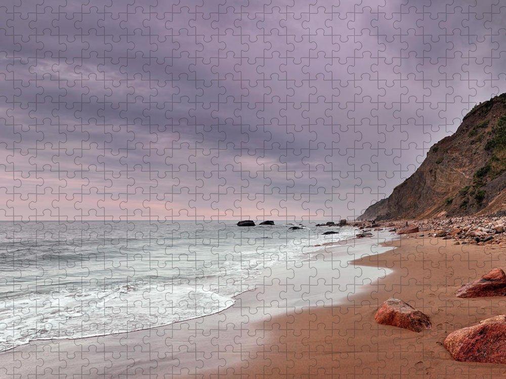 Water's Edge Puzzle featuring the photograph Mohegan Bluffs Beach- Block Island by Shobeir Ansari