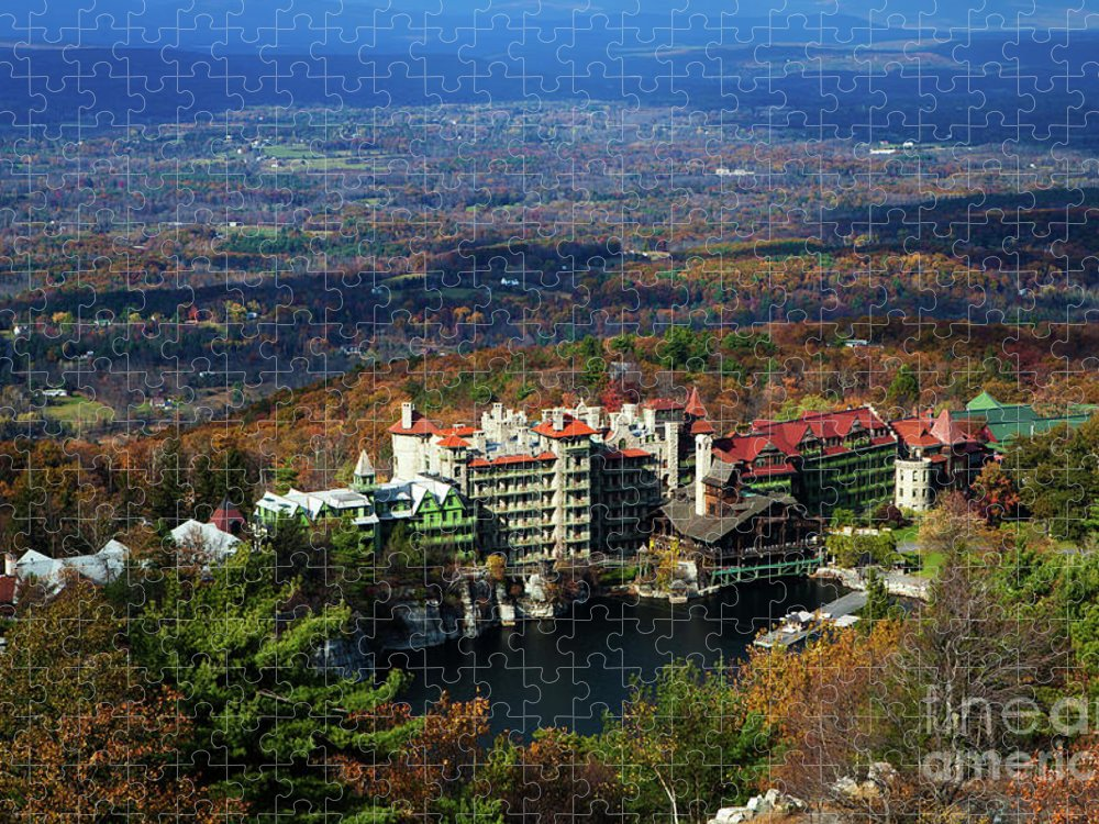 Tranquility Puzzle featuring the photograph Mohonk Mountain House Elevated View by Henry C