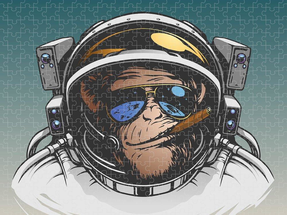 Symbol Puzzle featuring the digital art Monkey Astronaut Illustration by D1sk