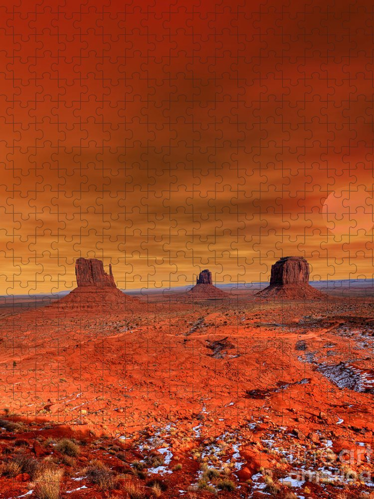 Southwest Puzzle featuring the photograph Monument Valley Arizona With Evening by Paul B. Moore