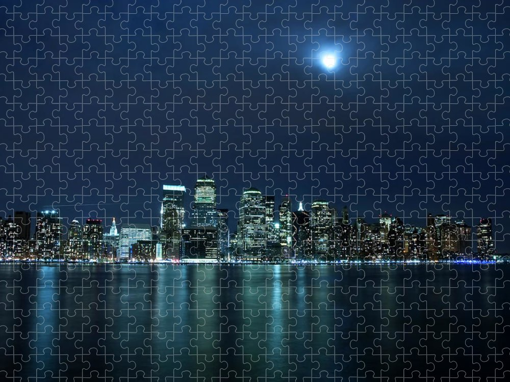 Lower Manhattan Puzzle featuring the photograph Moon Light Over New York City by Brandonj74