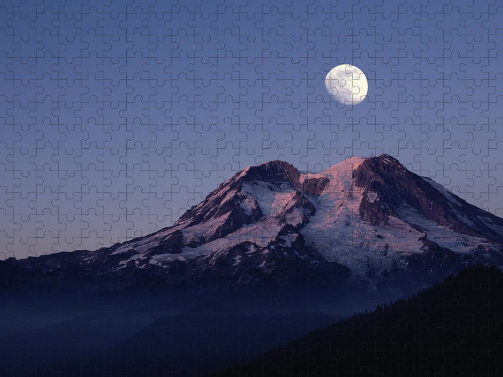 Scenics Puzzle featuring the photograph Moon Over Mount Rainier - Washington by Bruce Heinemann