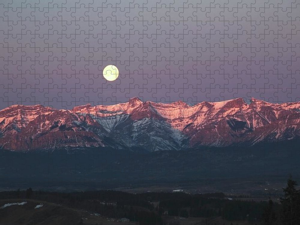 Front Range Puzzle featuring the photograph Moon Set Over Front Range Mountains by Design Pics / Michael Interisano