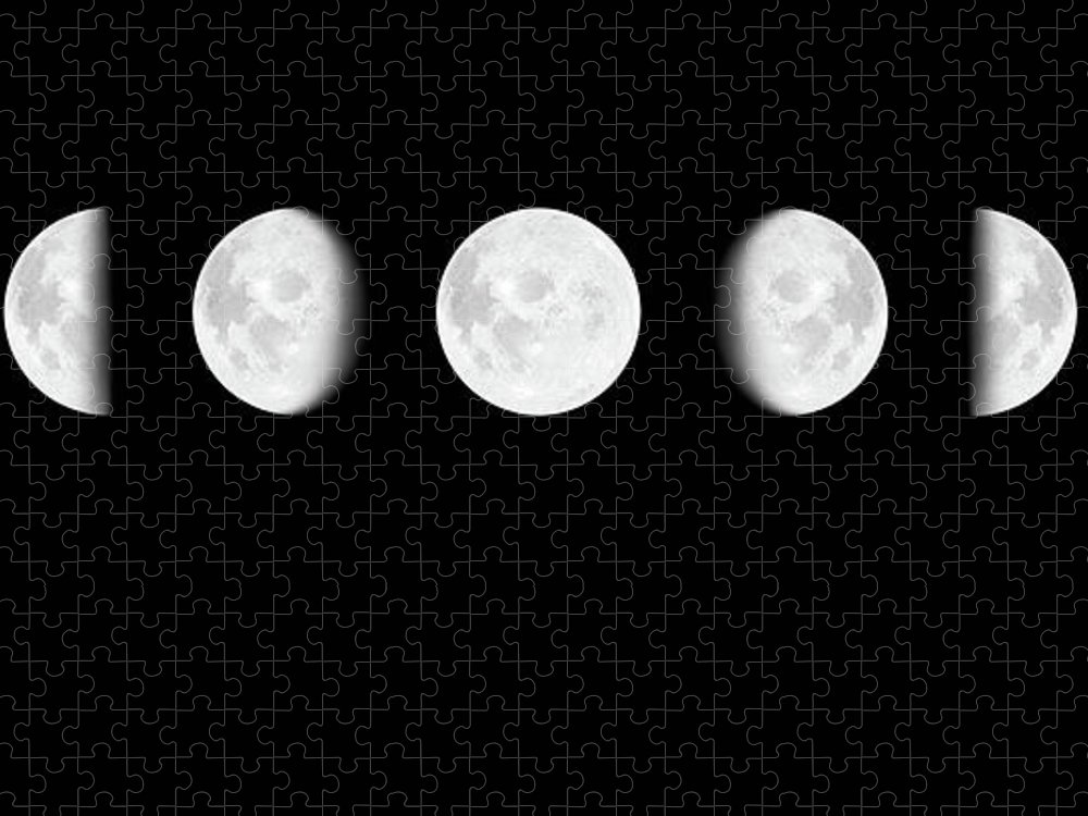 Sequential Series Puzzle featuring the photograph Moon Surface With Different Phases Xxxl by Cruphoto