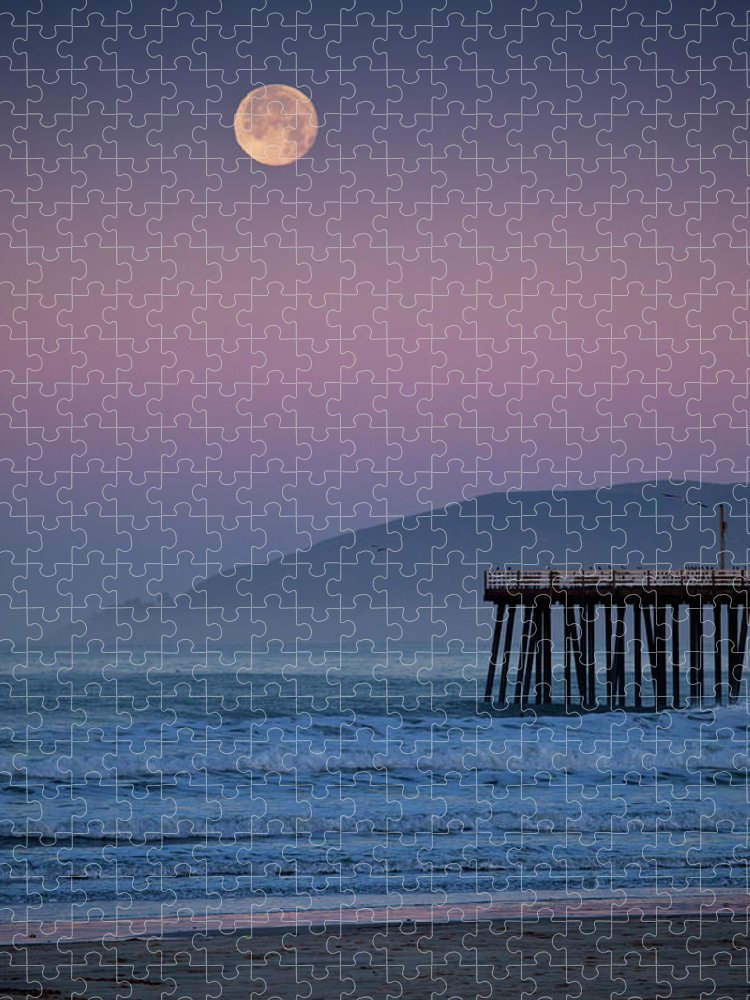 Pismo Beach Puzzle featuring the photograph Moonset At Pismo Beach by Mimi Ditchie Photography