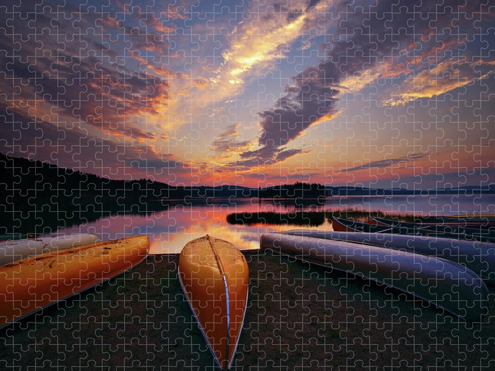 Tranquility Puzzle featuring the photograph Morning At Lake Of The Two Rivers by Henry@scenicfoto.com