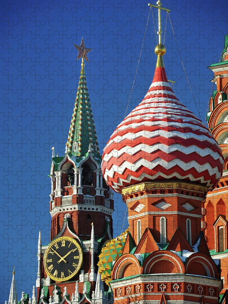 Built Structure Puzzle featuring the photograph Moscow, Spasskaya Tower And St. Basil by Vladimir Zakharov