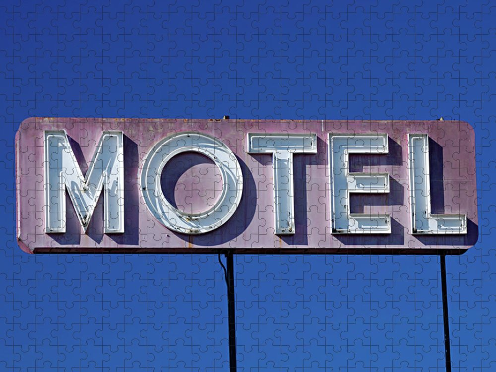 Clear Sky Puzzle featuring the photograph Motel Sign by Eyetwist / Kevin Balluff