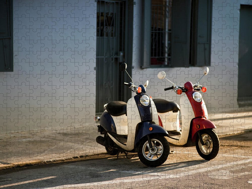 In A Row Puzzle featuring the photograph Motorbikes Parked On The Road by Pgiam