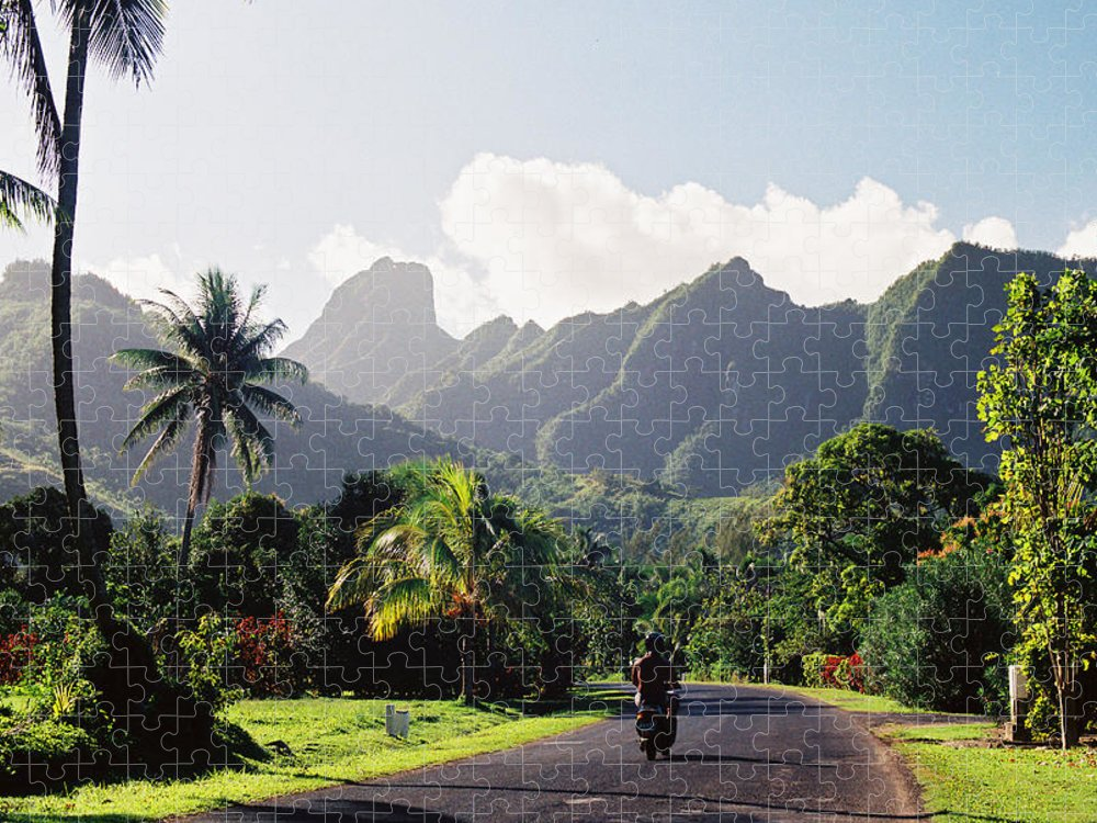 Shadow Puzzle featuring the photograph Motorcyclist On Polynesian Road by Ejs9