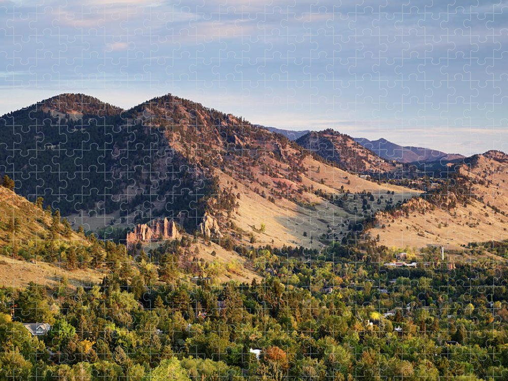 Scenics Puzzle featuring the photograph Mount Sanitas And Fall Colors In by Beklaus