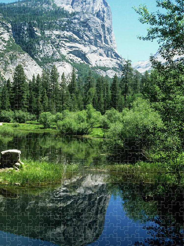 Scenics Puzzle featuring the photograph Mount Watkins And Mirror Lake by Moodboard