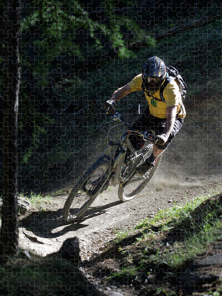 Sports Helmet Puzzle featuring the photograph Mountain Biker On Dirt Path by Michael Truelove