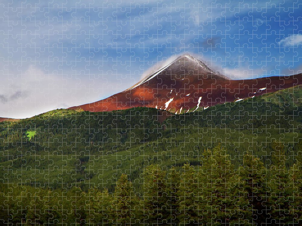 Scenics Puzzle featuring the photograph Mountain Peak - Jasper National Park by Adria Photography