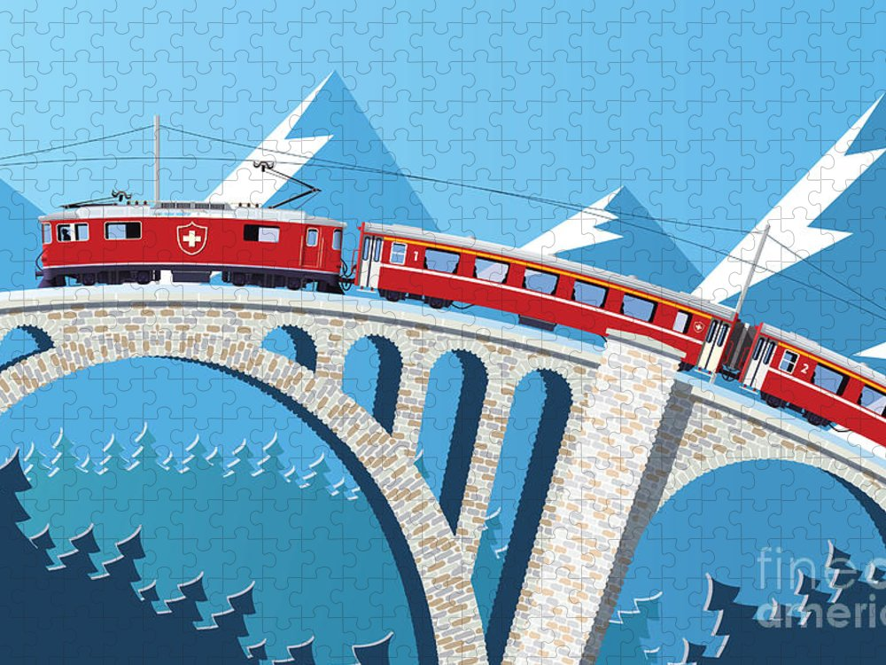 Illustrations Puzzle featuring the digital art Mountain Train On The Bridge by Nikola Knezevic