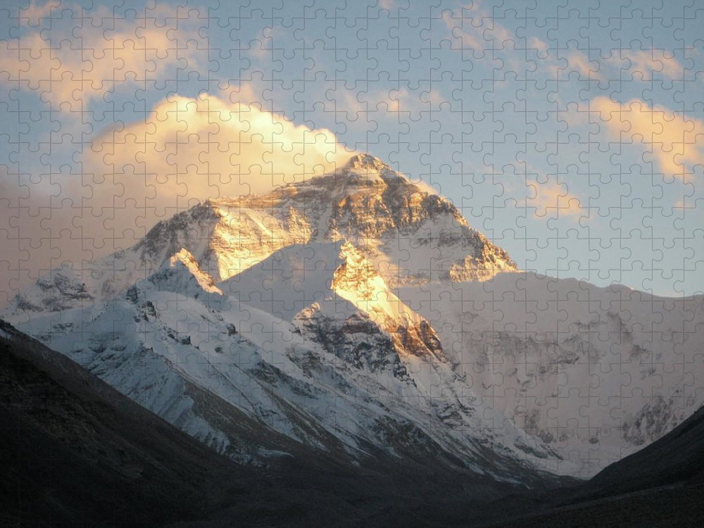 Chinese Culture Puzzle featuring the photograph Mt. Everest At Sunset by Livetalent