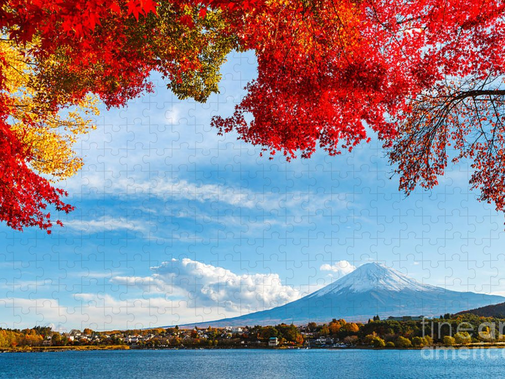 Kawaguchiko Puzzle featuring the photograph Mt Fuji In Autumn by Esb Professional