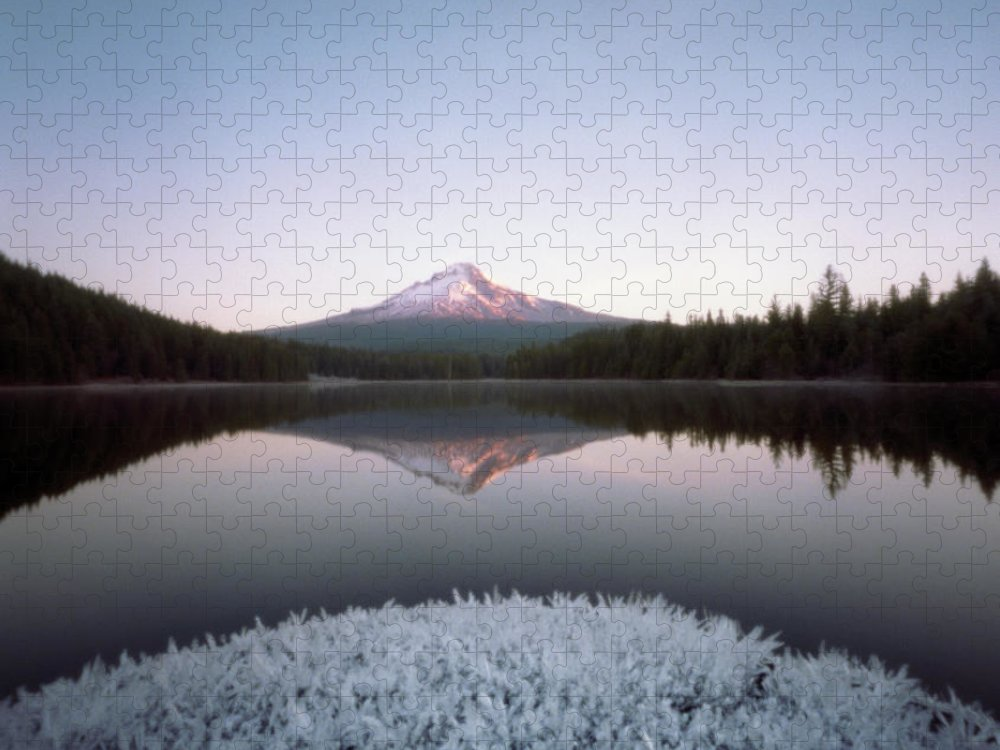 Scenics Puzzle featuring the photograph Mt. Hood Lit By Sunrise by Wendi Andrews