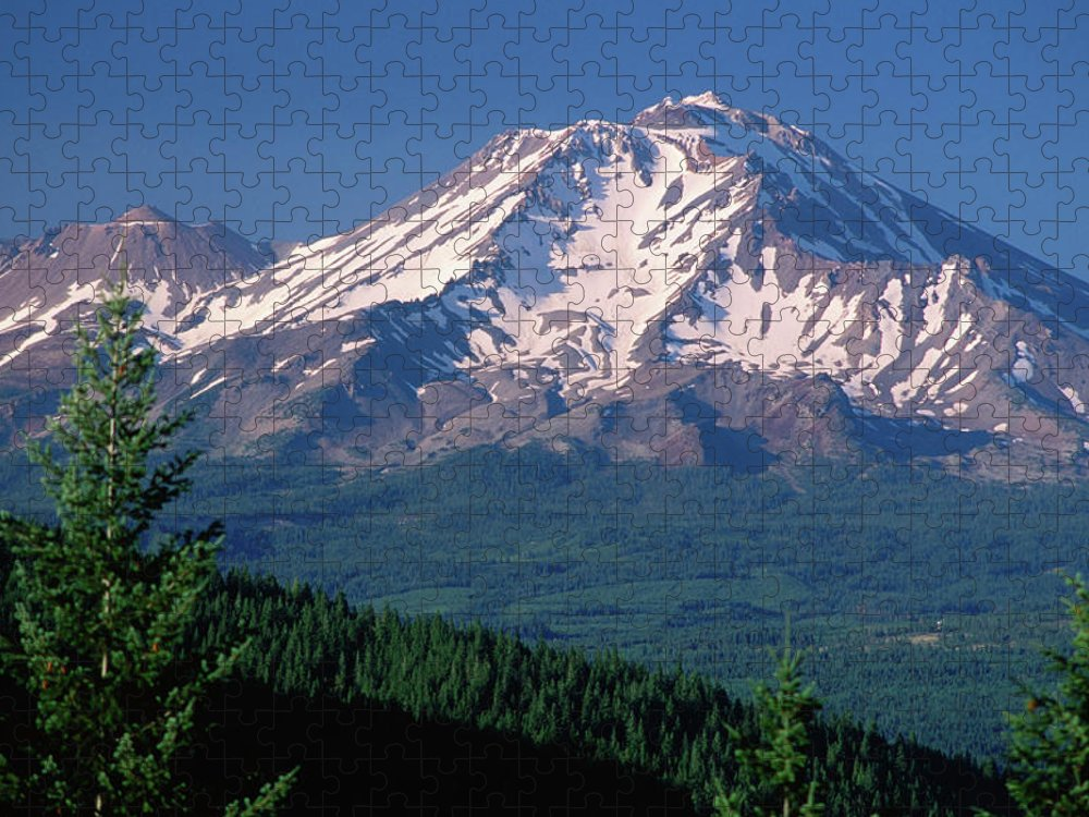 Toughness Puzzle featuring the photograph Mt Shasta Across Lake Siskiyou, Mt by John Elk Iii