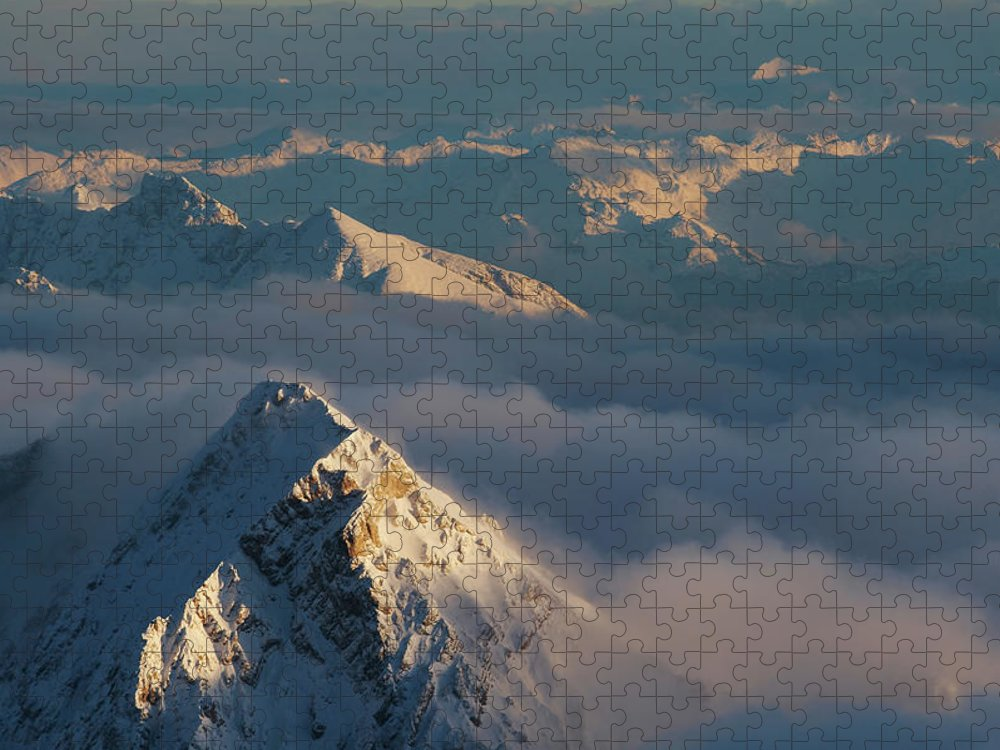 Scenics Puzzle featuring the photograph Mt. Zugspitze 6 - Bavaria Germany by Wingmar