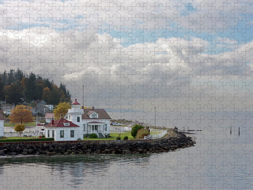 Water's Edge Puzzle featuring the photograph Mukilteo Lighthouse On Puget Sound by Stevedf