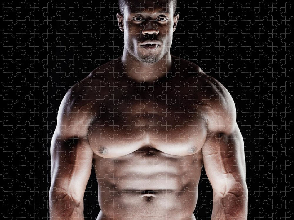 Young Men Puzzle featuring the photograph Muscular Man by Pkline