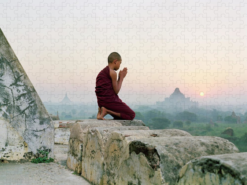 Child Puzzle featuring the photograph Myanmar, Bagan, Buddhist Monk Praying by Martin Puddy
