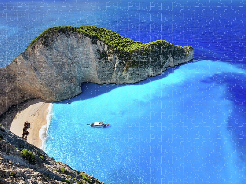 Extreme Terrain Puzzle featuring the photograph Navagio Beach, Zakynthos Island, Greece by Rusm