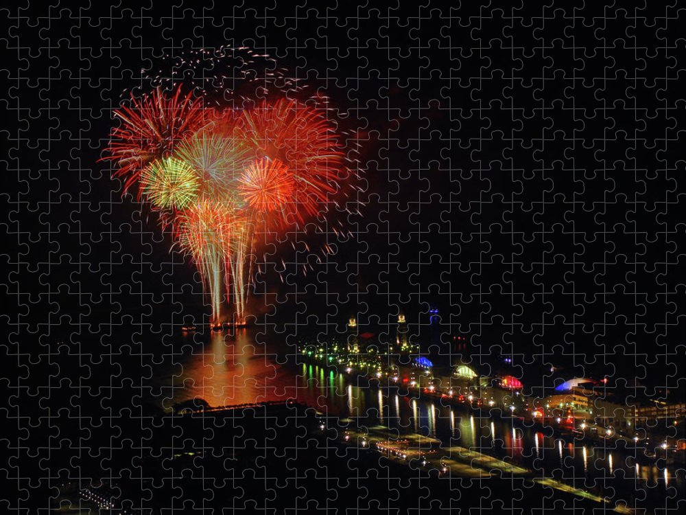 Firework Display Puzzle featuring the photograph Navy Pier Fireworks by Image By Douglas R. Siefken