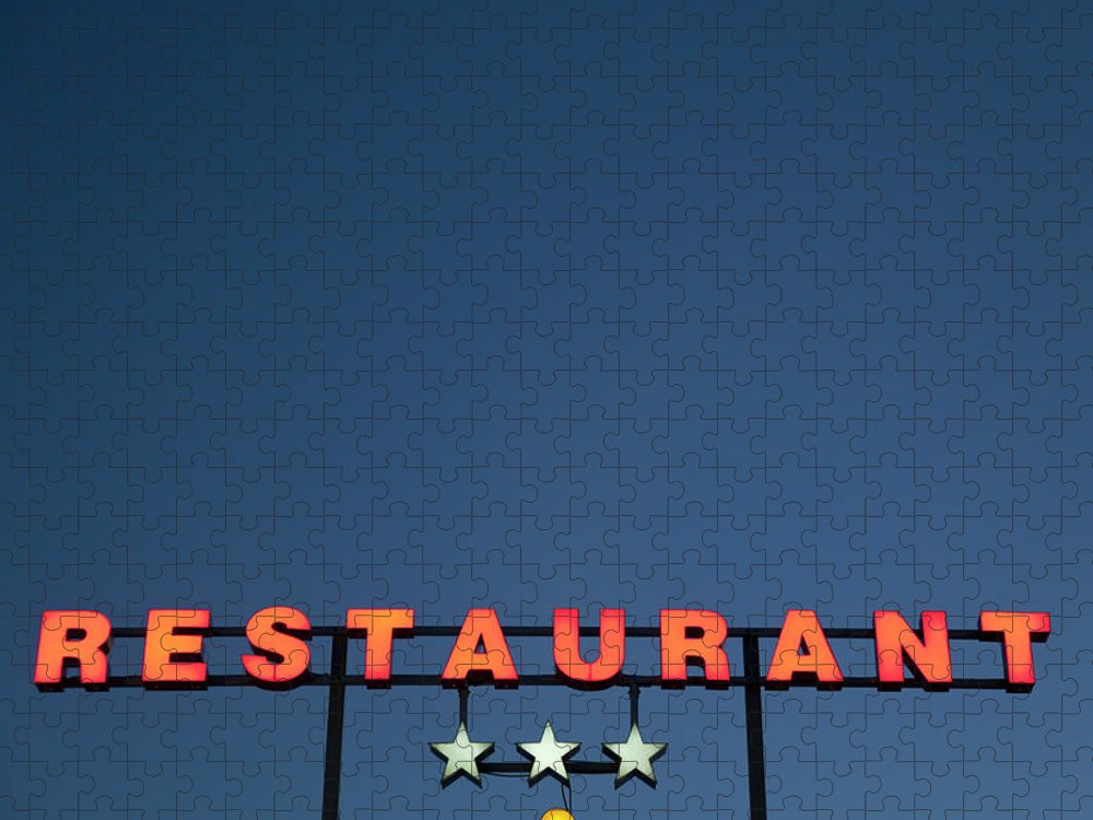 Temptation Puzzle featuring the photograph Neon 3 Star Restaurant Sign by Henglein And Steets