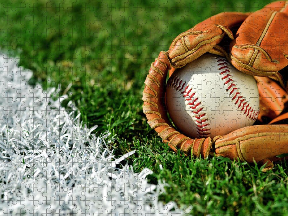 Grass Puzzle featuring the photograph New Baseball In Glove Along Foul Line by Cmannphoto