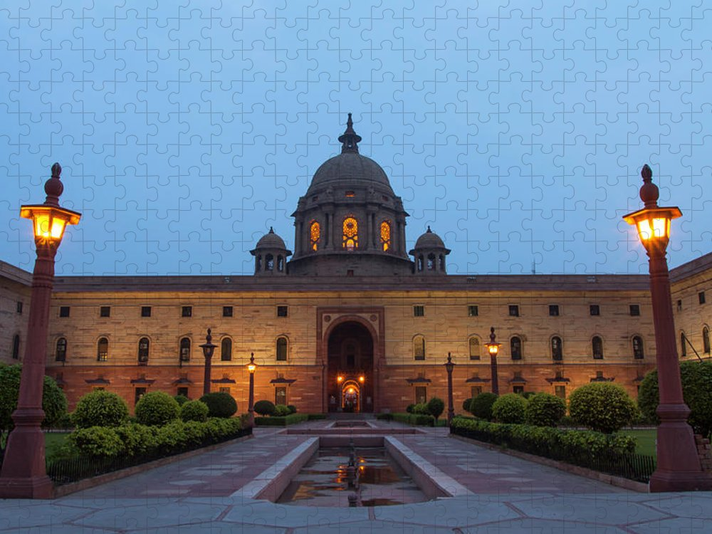 New Delhi Puzzle featuring the photograph New Delhi President House At Night by Prognone